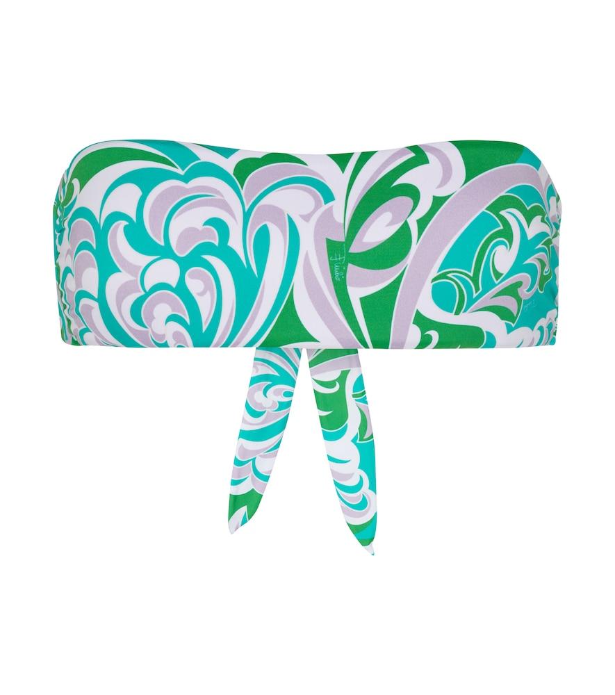 Printed bandeau bikini top