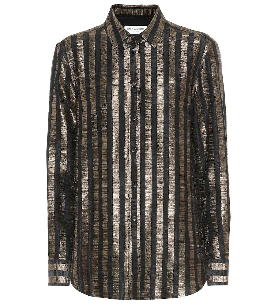 Chemise rayée en soie mélangée lamée - Saint Laurent - Modalova