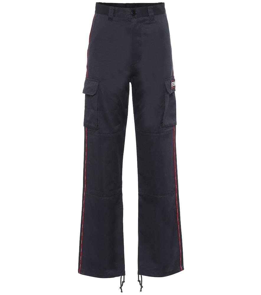 Wide-leg cotton cargo pants