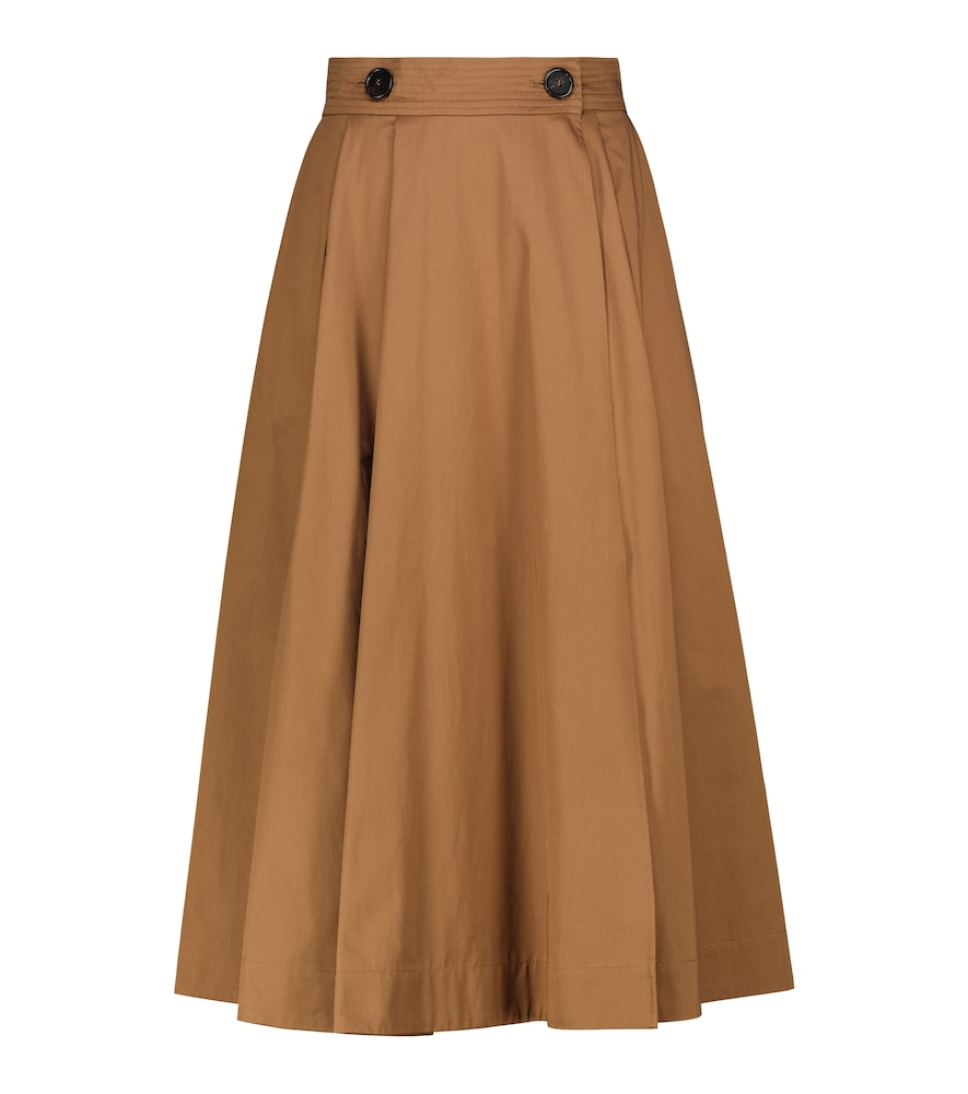 Max Mara Pueblo Cotton Sateen Skirt In Brown