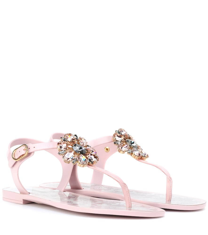 384da53d035a Dolce   Gabbana Rubber And Patent Leather Thong Sandals With Brooch Detail  In Pink