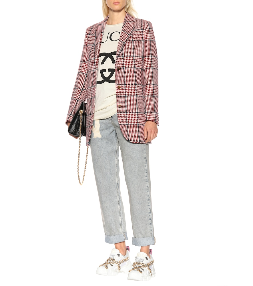 Checked wool-blend blazer by Gucci