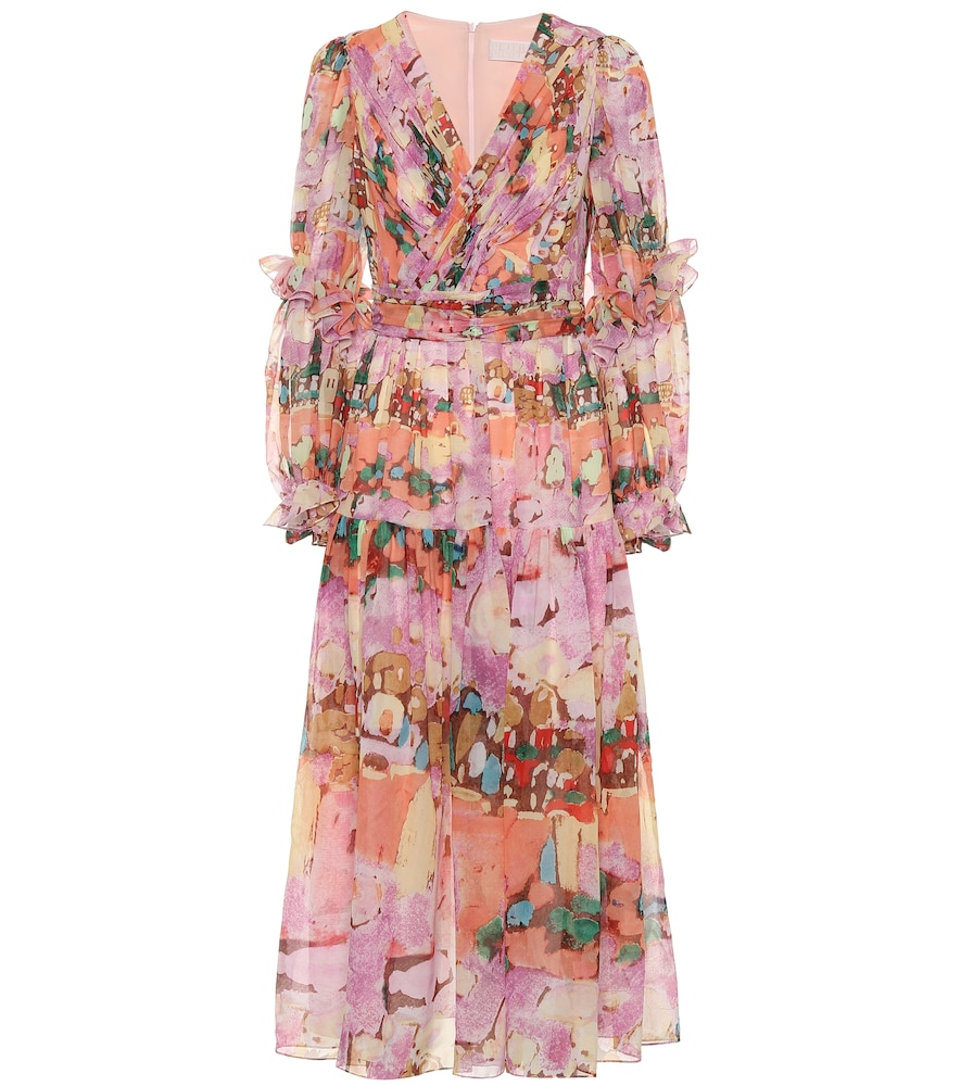 Peter Pilotto Floral Georgette Midi Dress In Pink
