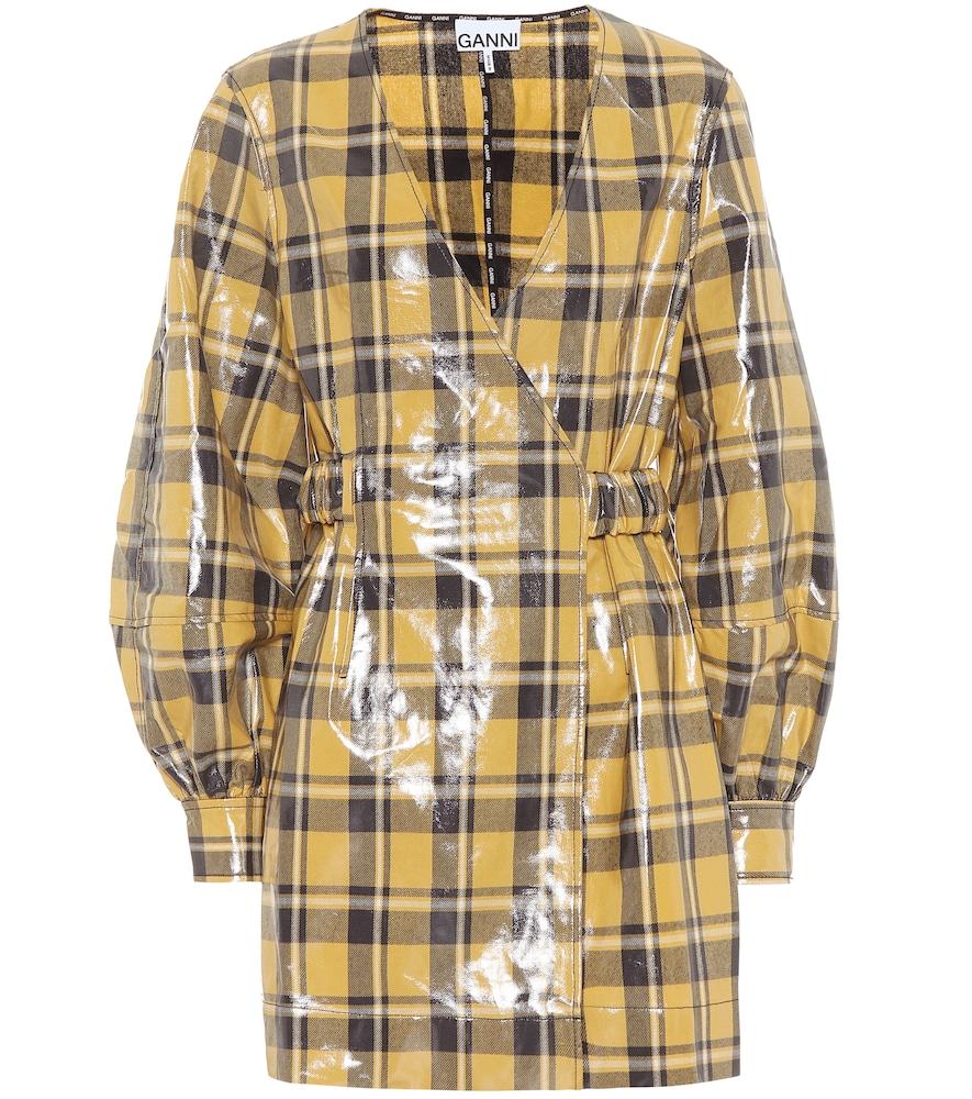 Robe portefeuille en coton enduit à carreaux