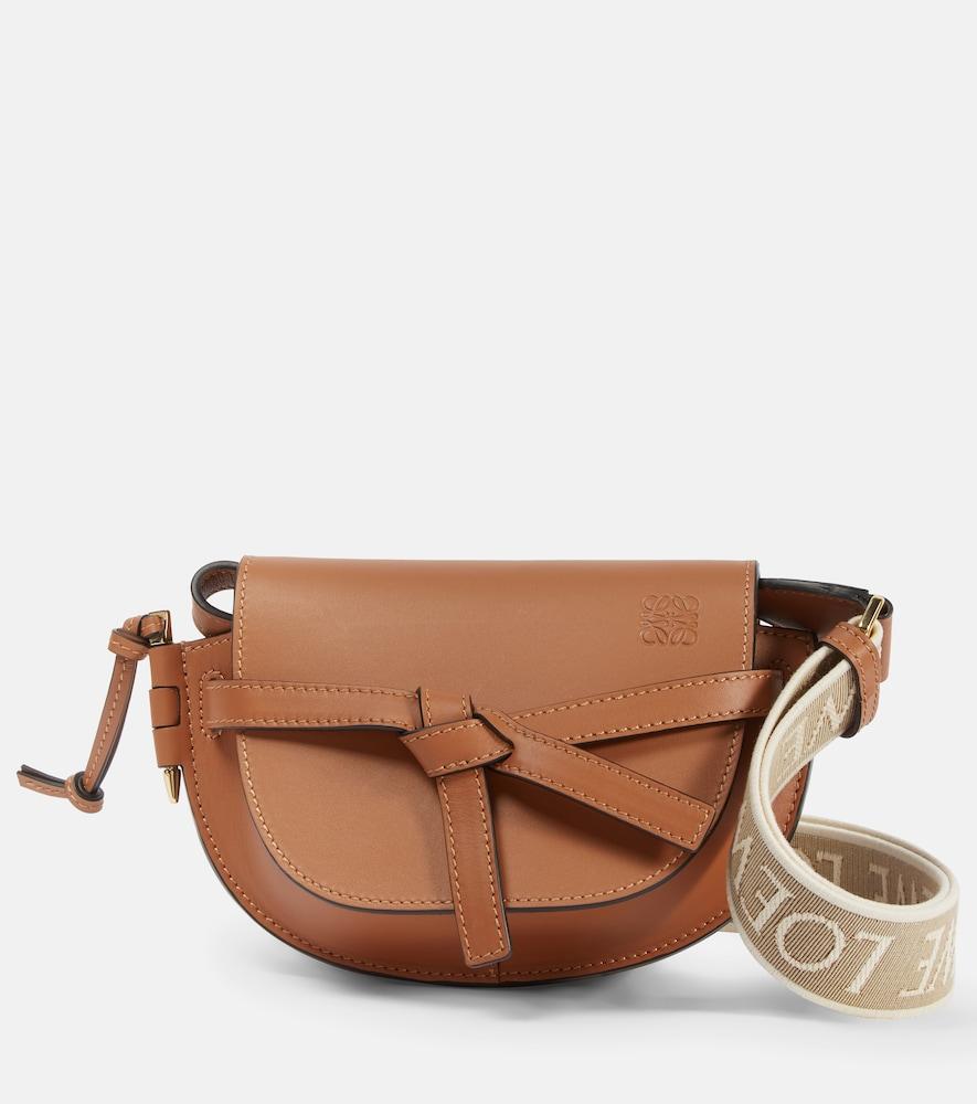 Gate Dual Mini leather and jacquard shoulder bag