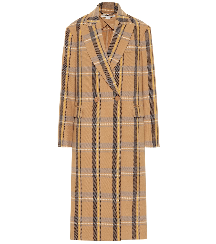 Oversized Double-Breasted Checked Wool Coat, Beige