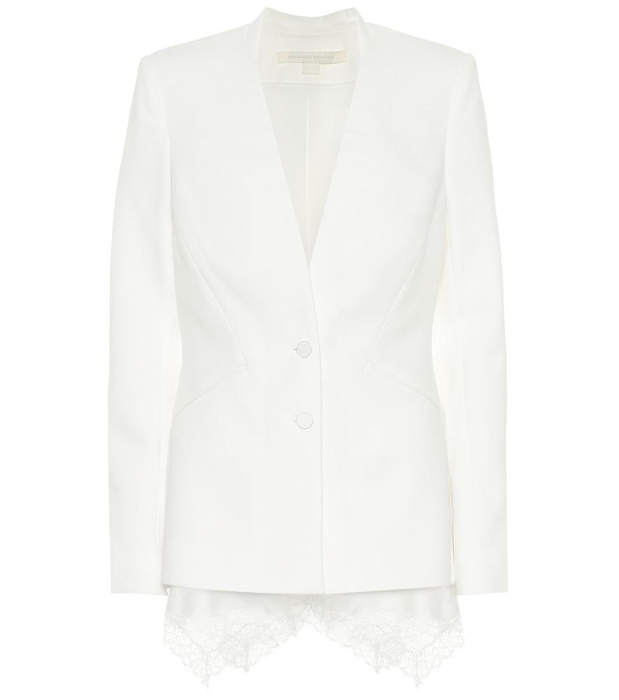 Lace-trimmed cr?e blazer by Jonathan Simkhai