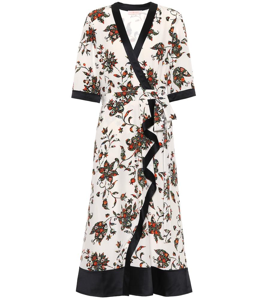 Floral silk midi wrap dress by Tory Burch