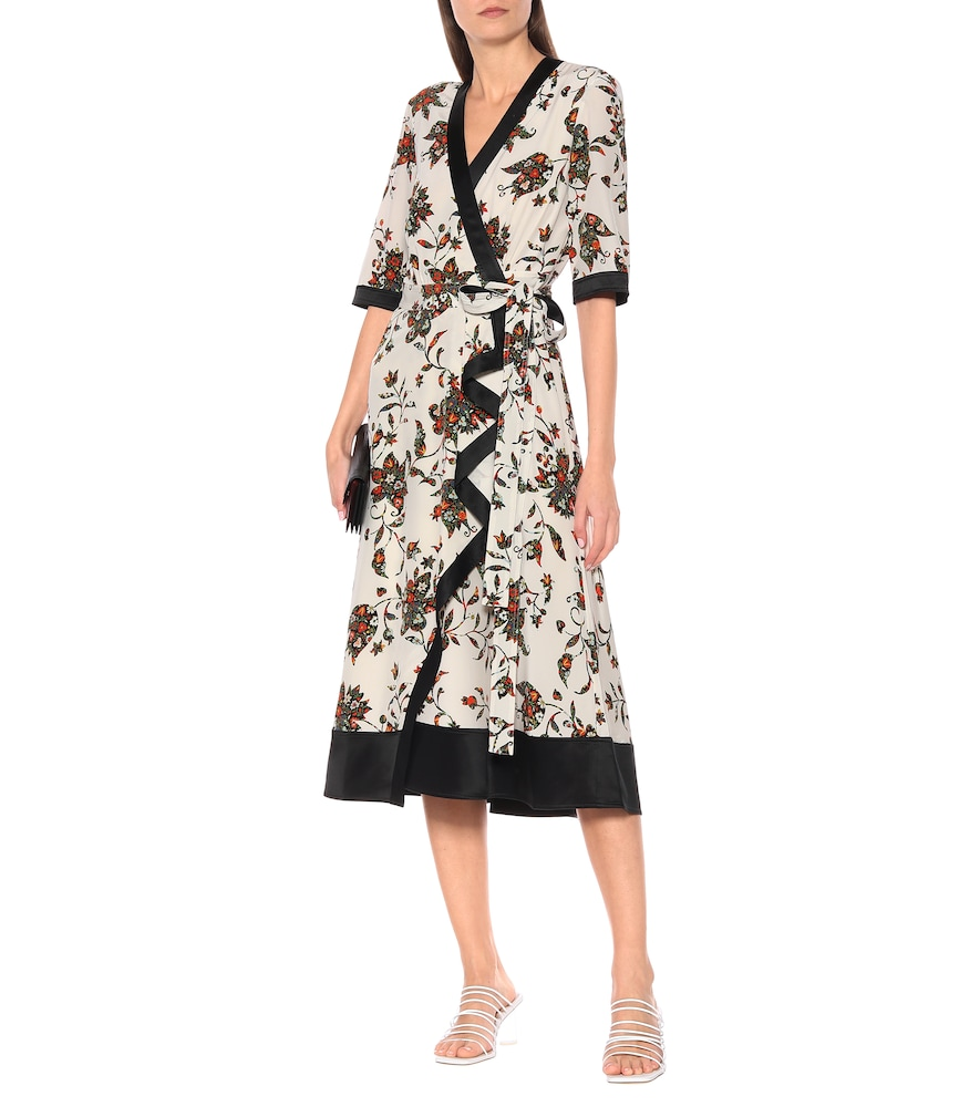 Floral silk midi wrap dress by Tory Burch