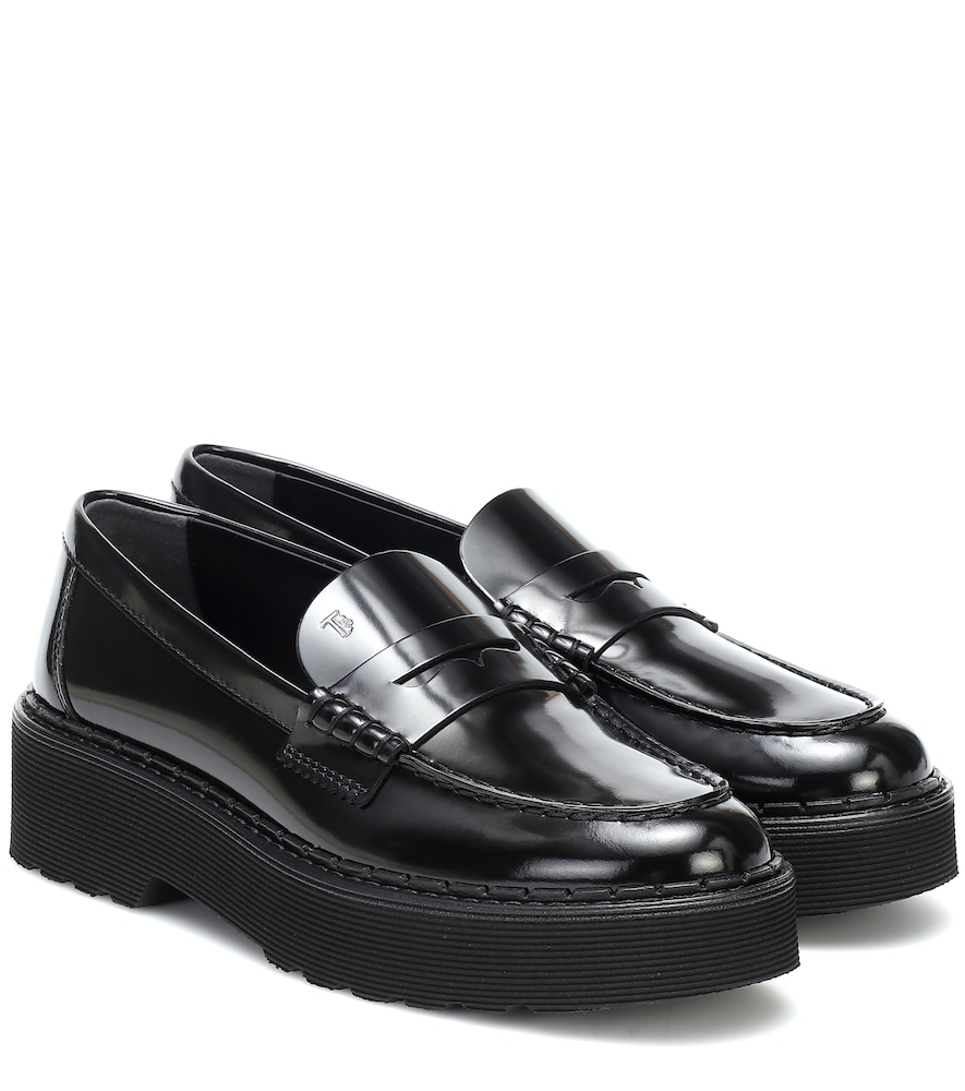 Patent leather platform loafers