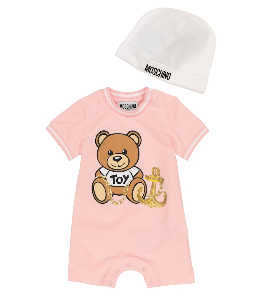 Moschino BABY STRETCH-COTTON PLAYSUIT AND HAT SET