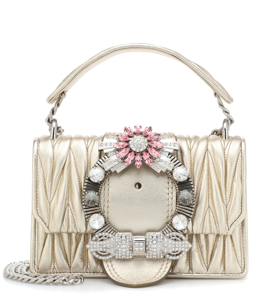 Miu Lady Crystal-Embellished Metallic Matelassé Leather Shoulder Bag