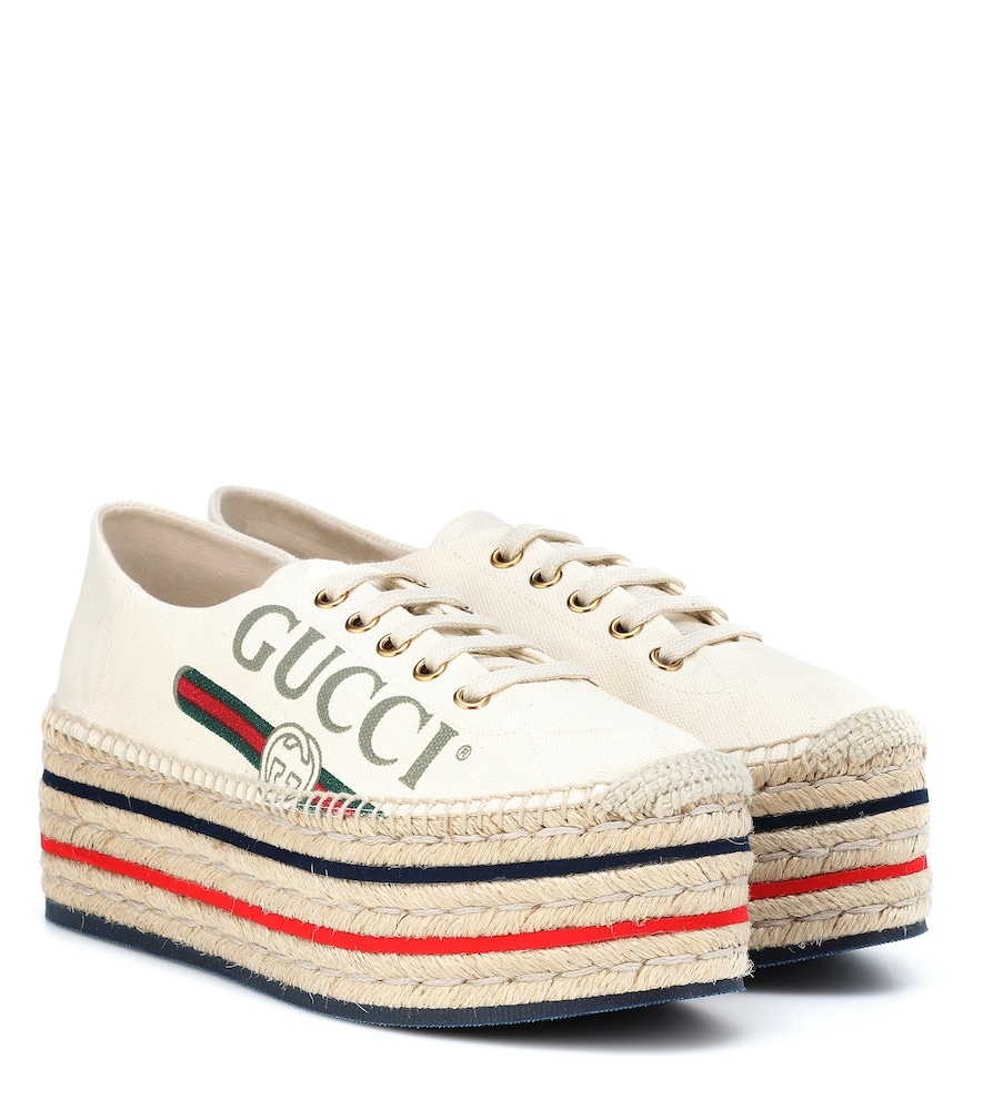 cd1f5899d Gucci Canvas Platform Espadrille Sneakers In White | ModeSens