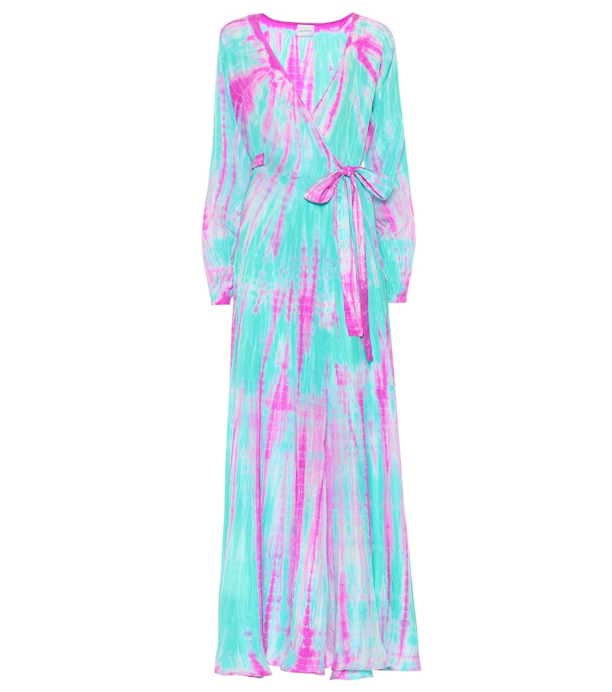 ANNA KOSTUROVA Tie-Dye Silk Maxi Dress in Blue