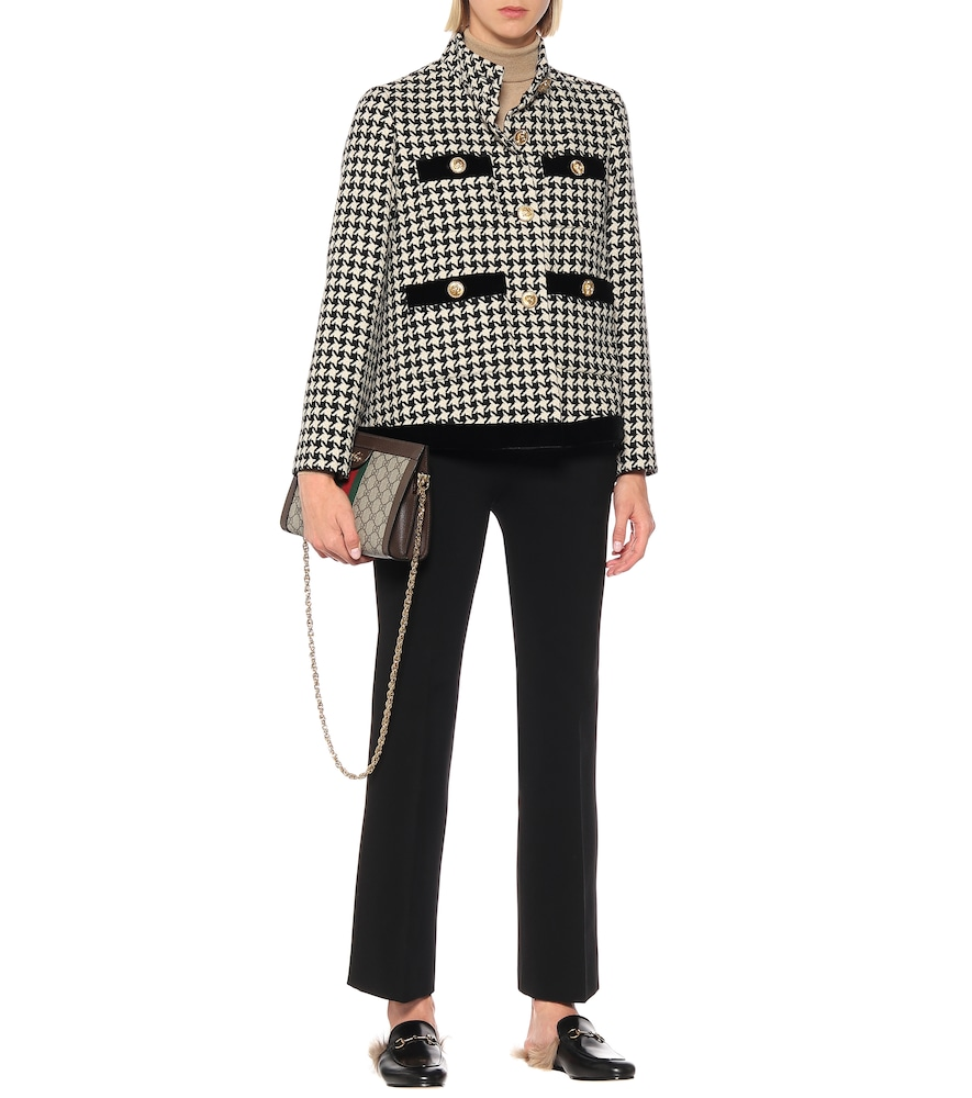 Houndstooth wool-blend jacket by Gucci