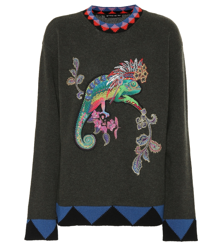 Embroidered Wool Sweater in Green