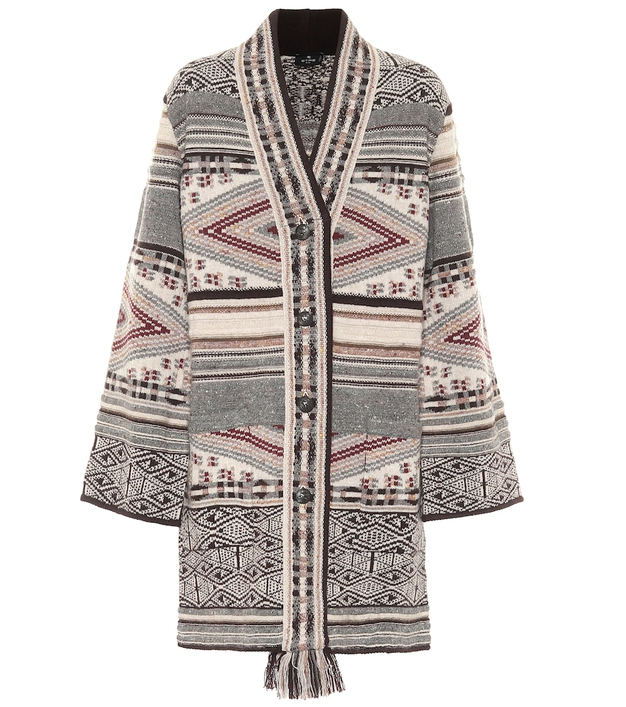 Etro Wool And Silk-blend Cardigan In Grey