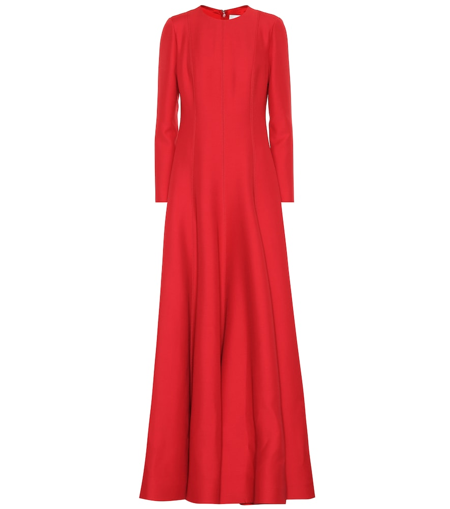 Flared wool and silk-blend gown