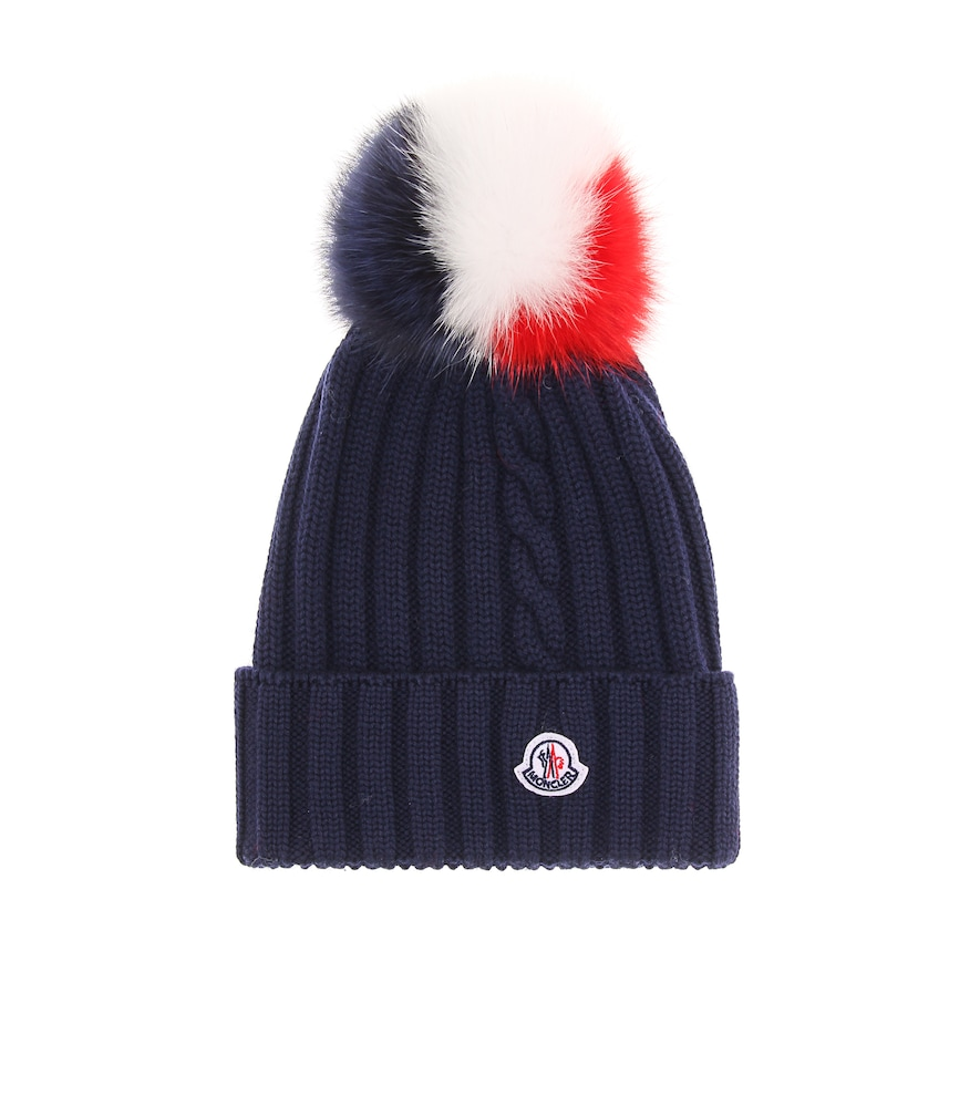 Berretto Knit Beanie Hat W/ Fur Pompom, Navy