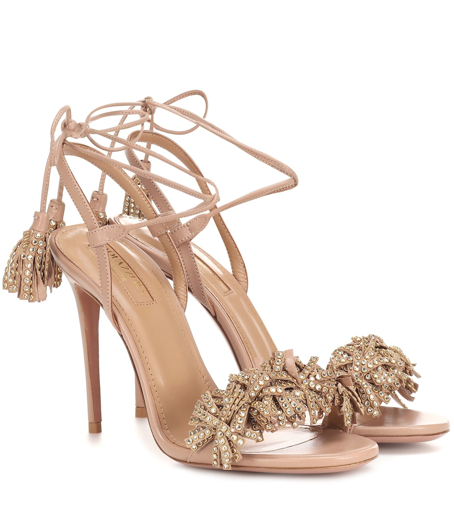Aquazzura Wild Crystal 105 Leather Sandals In Pink