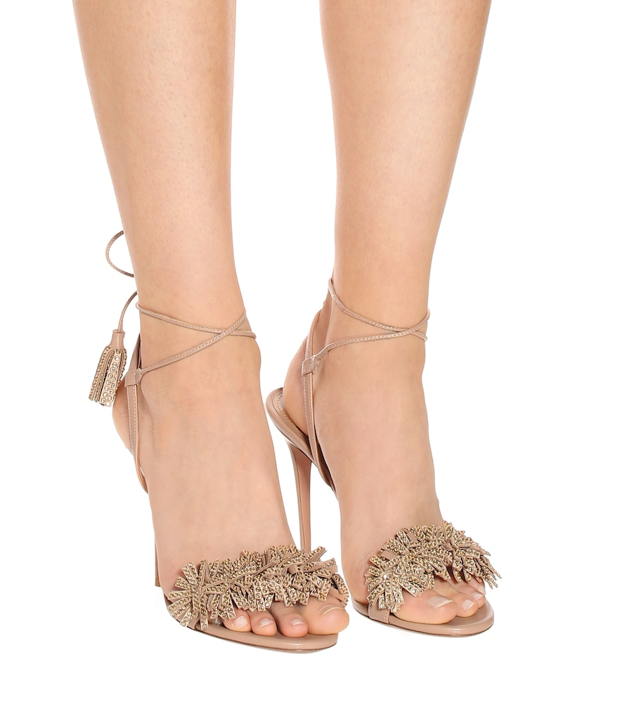 20034e82c244 Aquazzura Wild Crystal 105 Leather Sandals In Beige