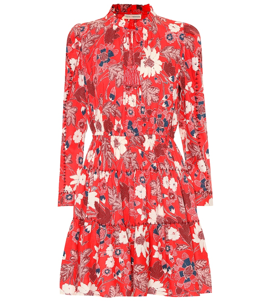 Ulla Johnson Liv Tiered Floral-Print Cotton-Blend Voile Mini Dress In Red