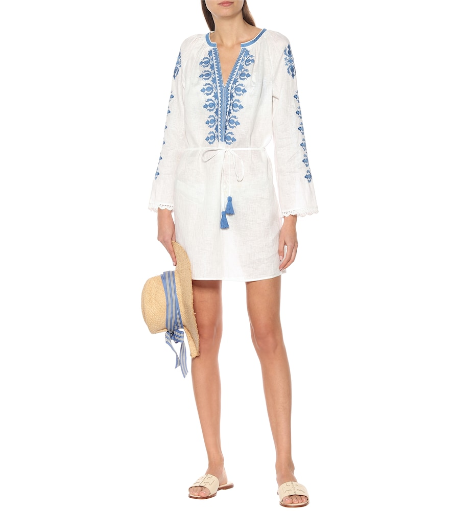 Embroidered linen minidress by Tory Burch