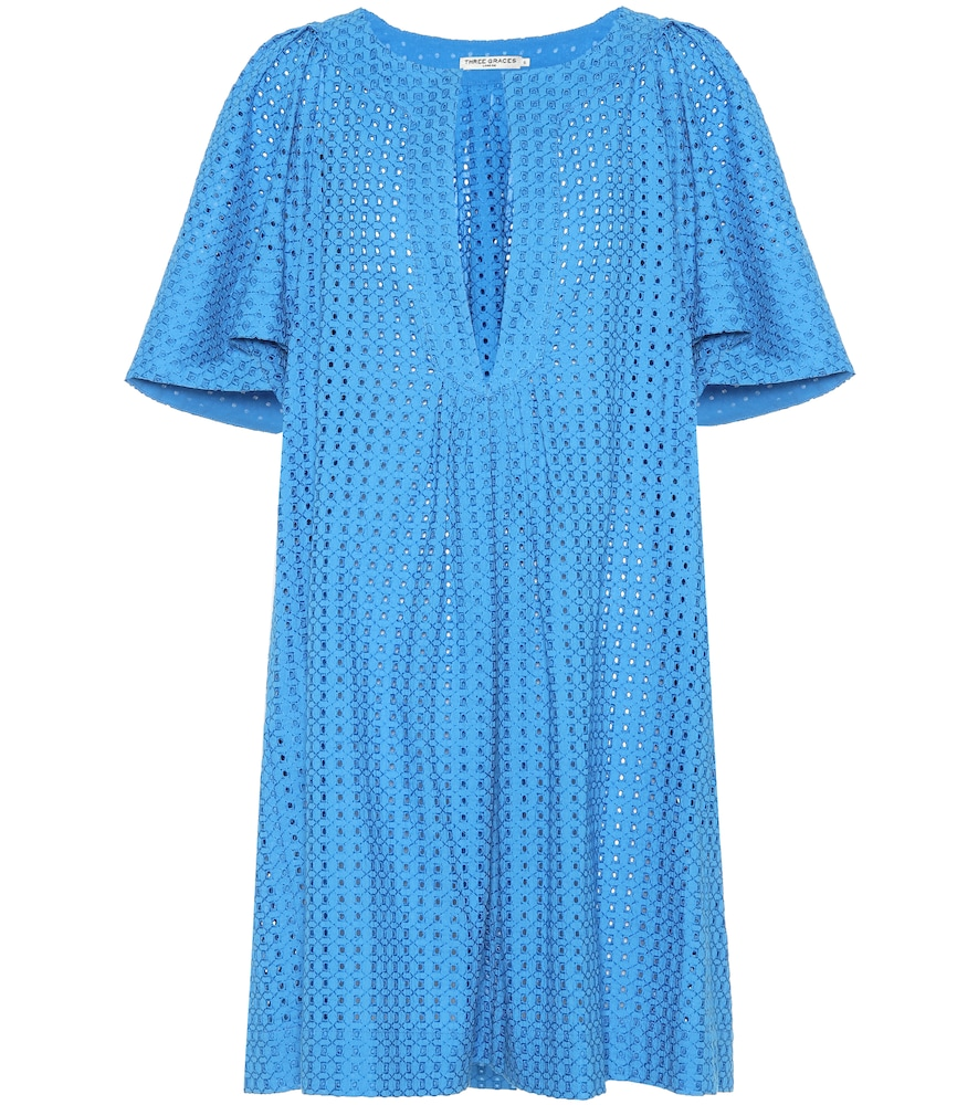 THREE GRACES LONDON Prudence Cotton Lace Dress in Blue