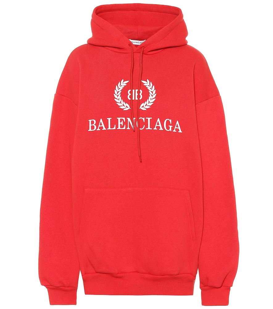 a2e936ff43 Balenciaga Oversized Logo Cotton Sweatshirt Hoodie In Red ...