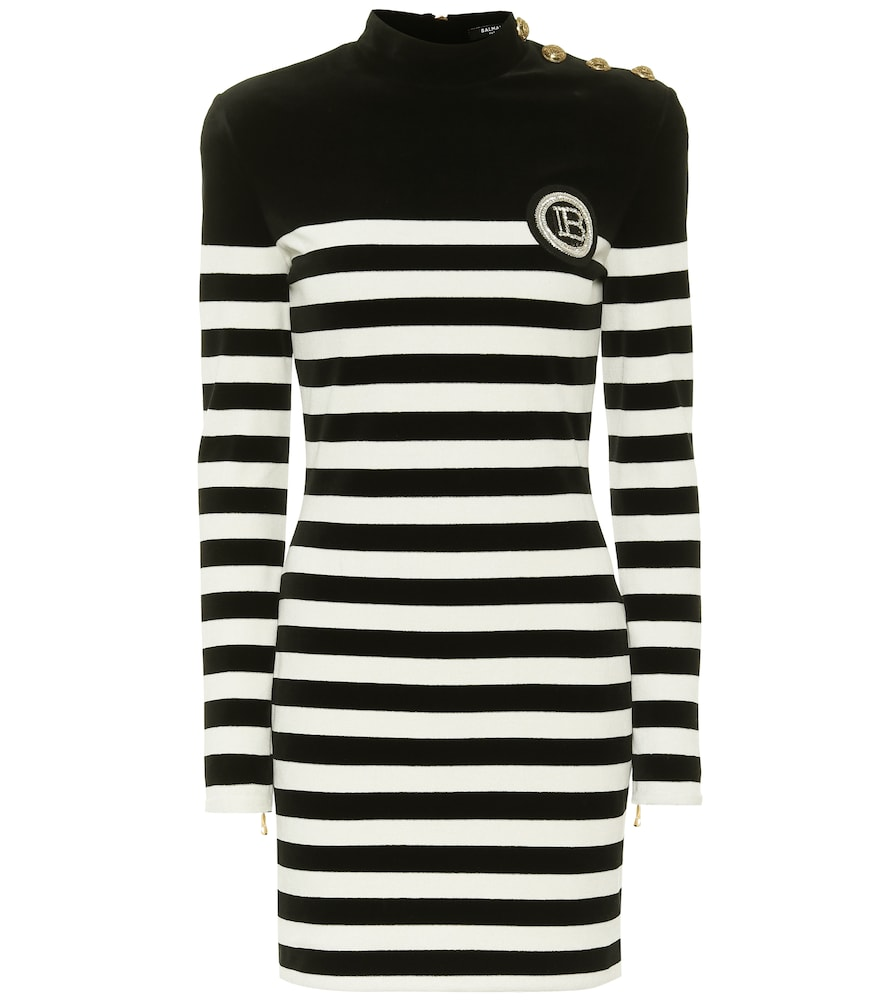 Balmain Logo-appliqué Striped Velvet Mini Dress In Black