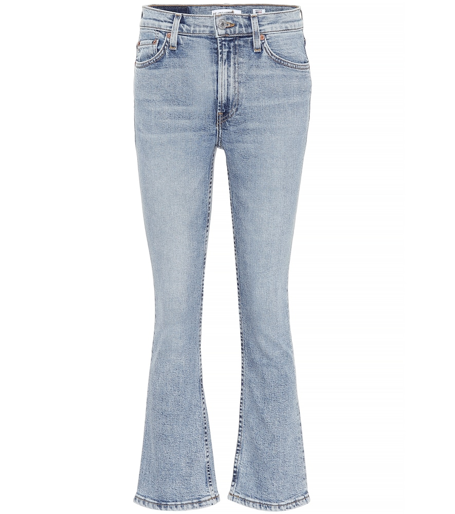 MID RISE KICK FLARE CROP JEANS