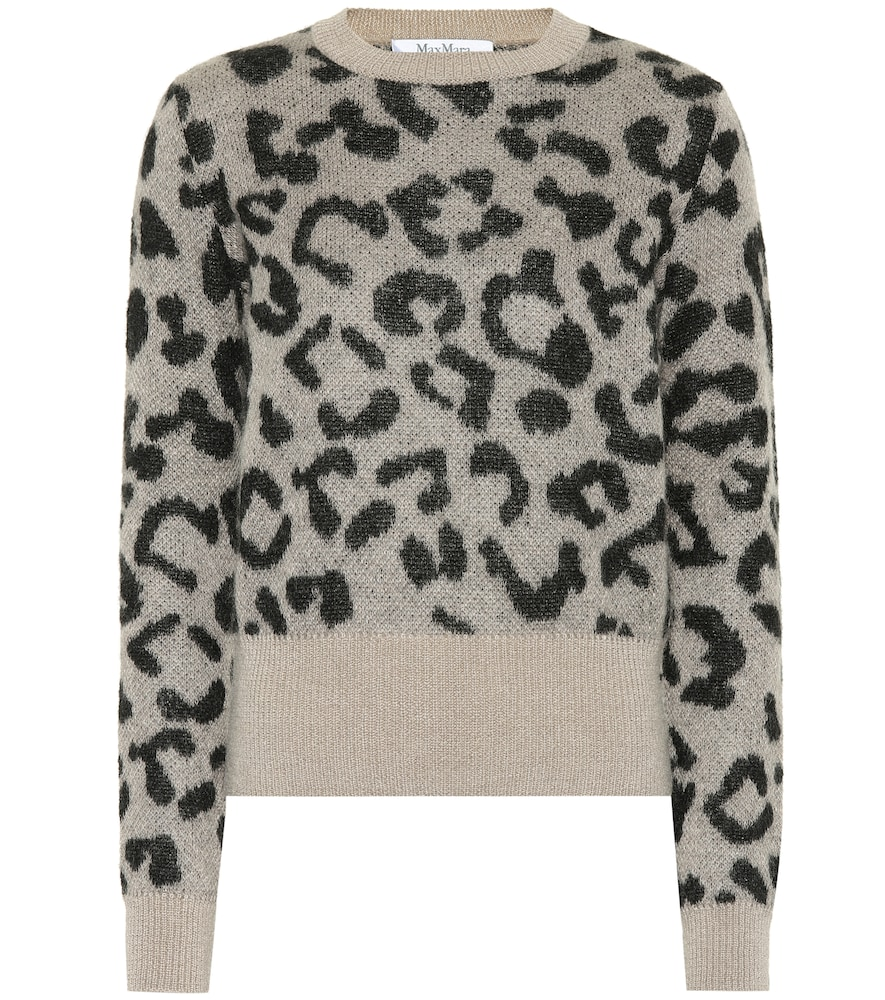 Mohair-Blend Jacquard Sweater in Taupe