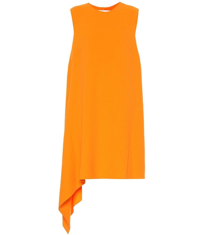 Wool-blend cr?e dress by Oscar de la Renta