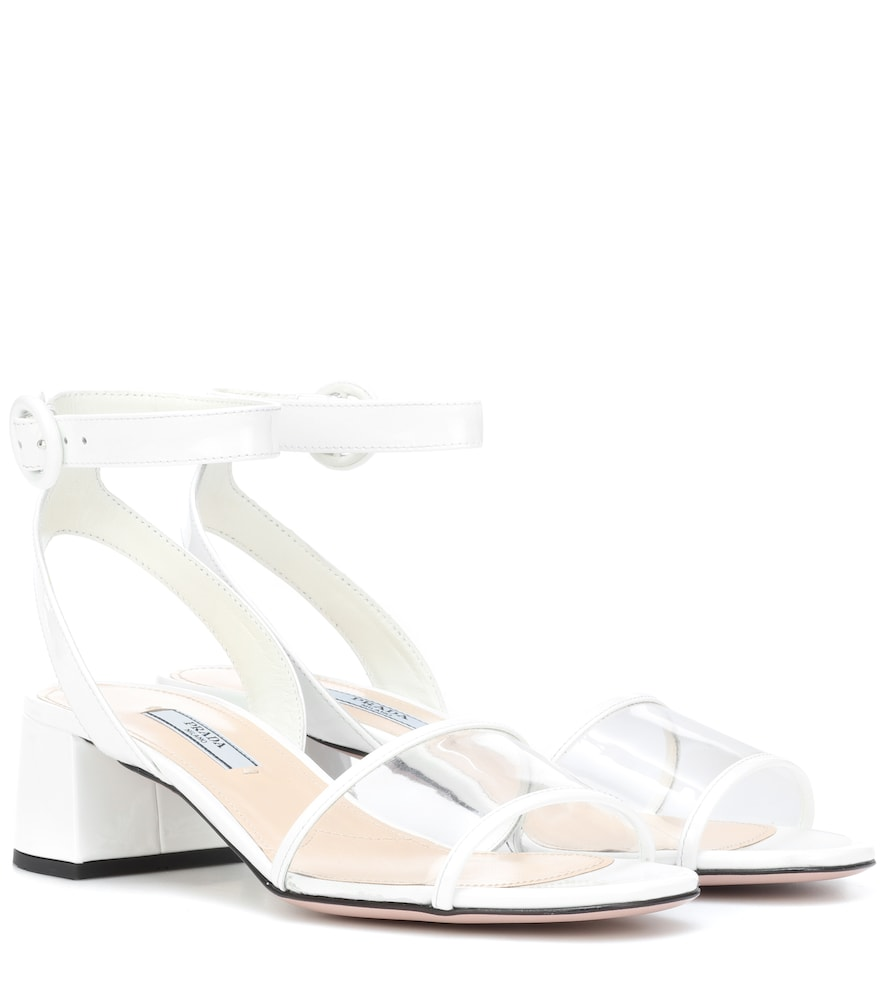 Patent-Leather And Pvc Sandals in White