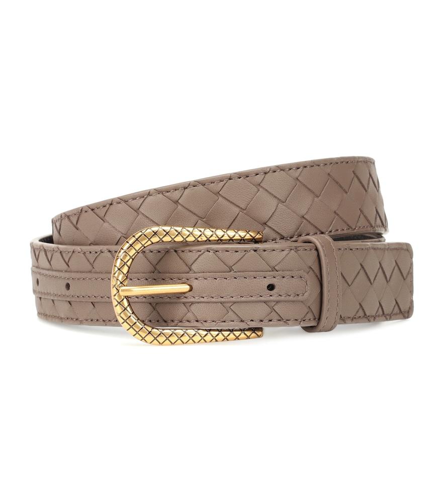 Intrecciato Leather Belt in Brown