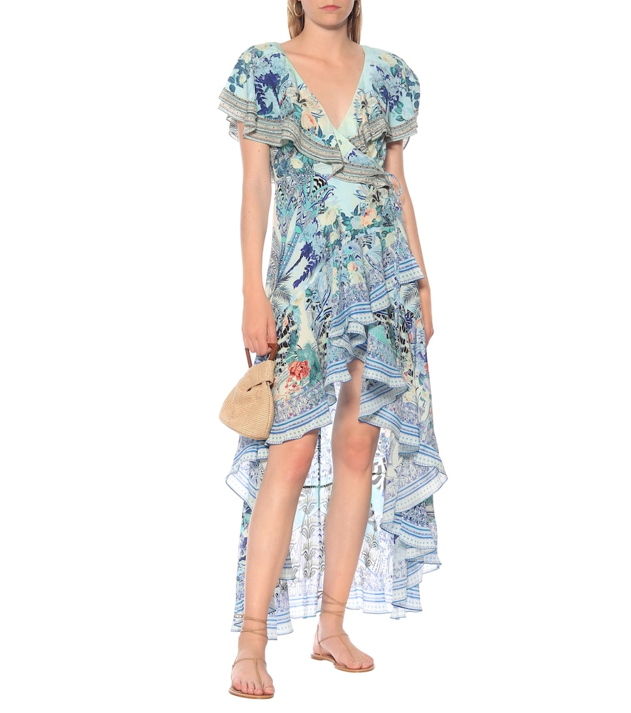 Printed silk asymmetric wrap dress by Camilla