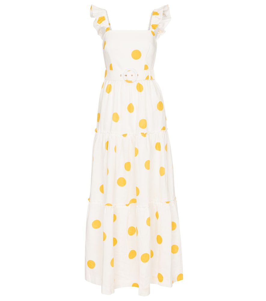 Rebecca Vallance AYA POLKA-DOT LINEN MAXI DRESS