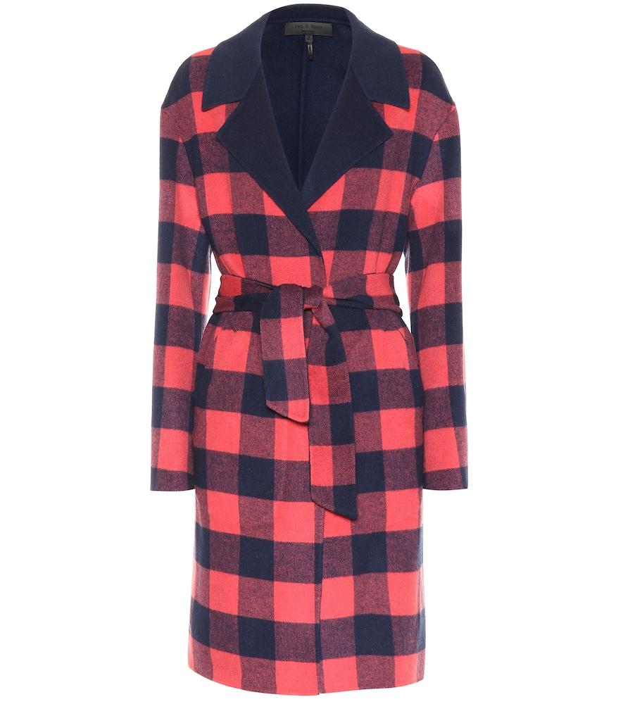 Manteau à carreaux réversible en laine mélangée