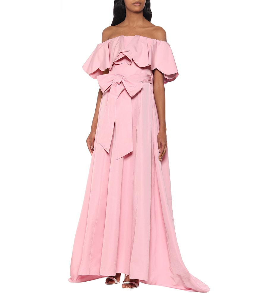 Off-shoulder cape gown by Valentino