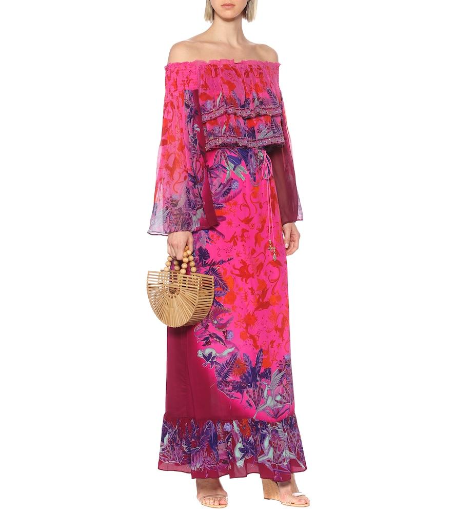 Printed off-shoulder silk maxi dress by Camilla