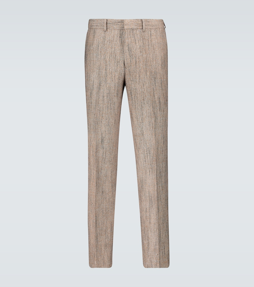 Wool-blend pleated pants