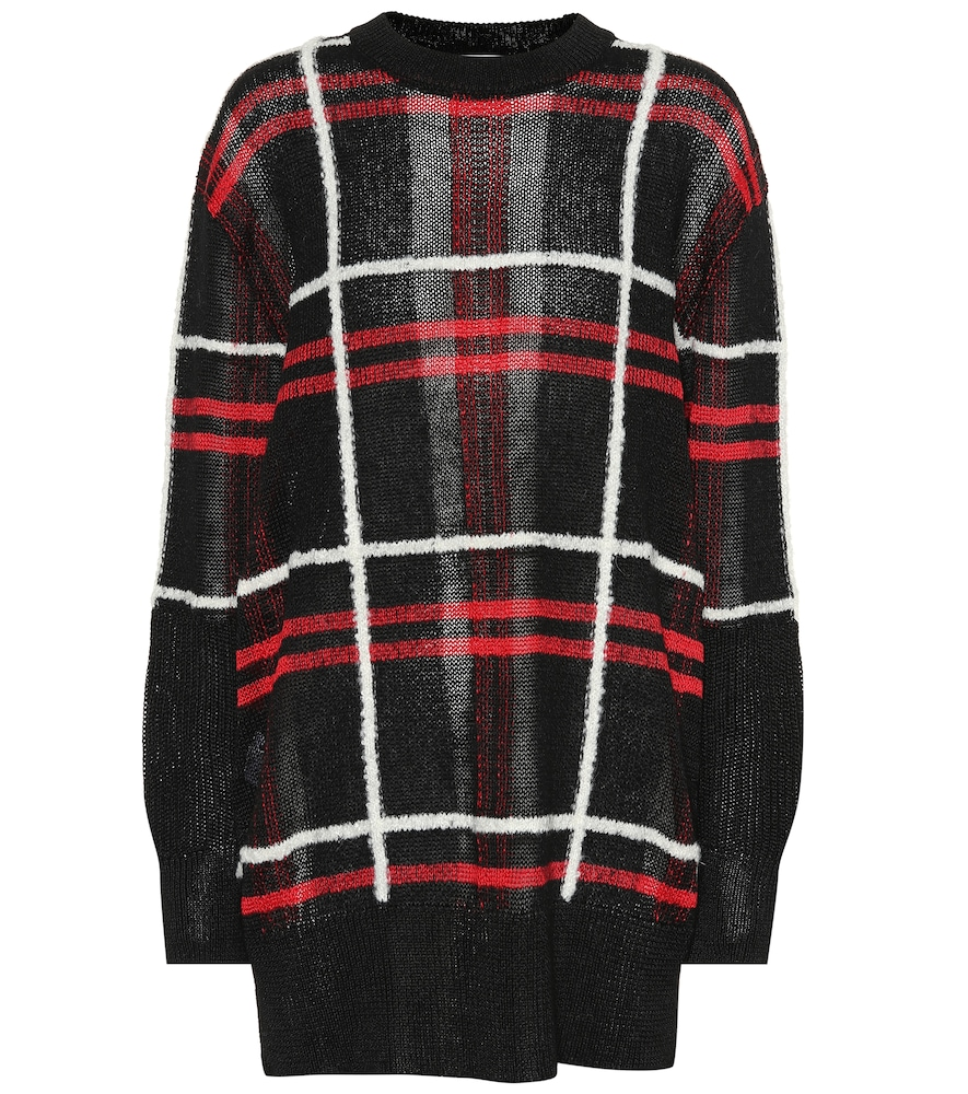 Mcq Alexander Mcqueen Red And Black Patched Check Sweater