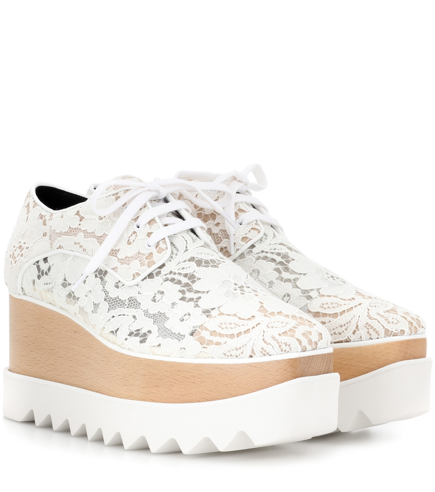 Elysse Lace Platform Wedge Sneaker in White