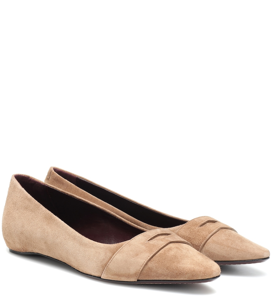 BOUGEOTTE Exclusive To Mytheresa - Suede Ballet Flats in Brown