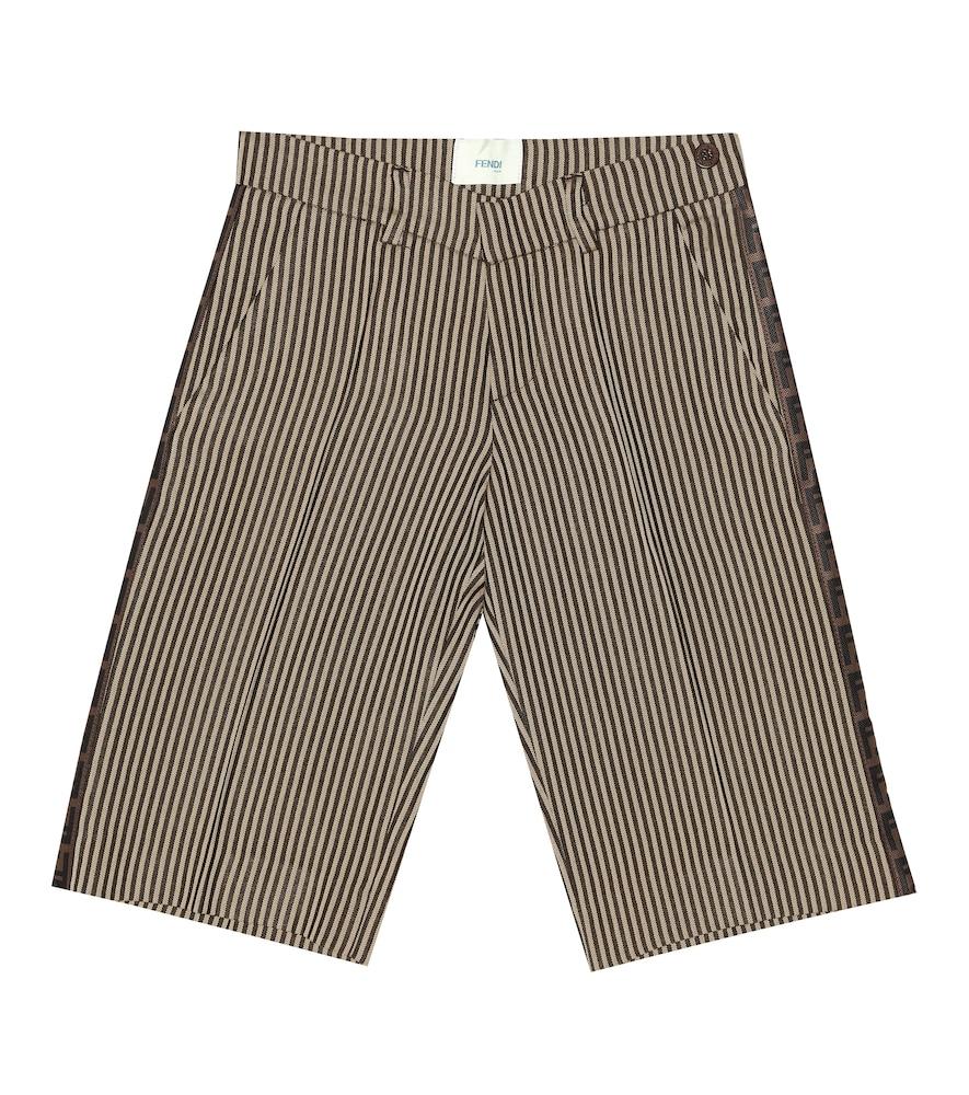FENDI KIDS | Striped Twill Shorts | Goxip