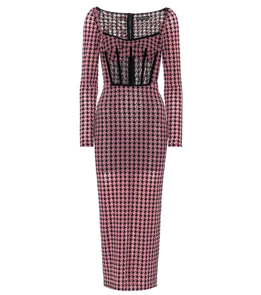 Houndstooth mesh midi dress