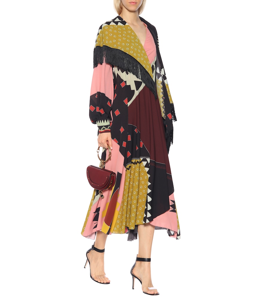 Printed crêpe dress with fringe by Etro