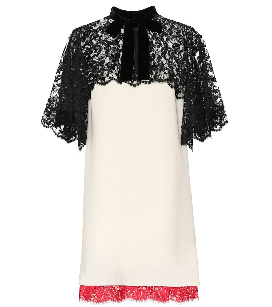 GUCCI LACE-TRIMMED CRÊPE MINIDRESS