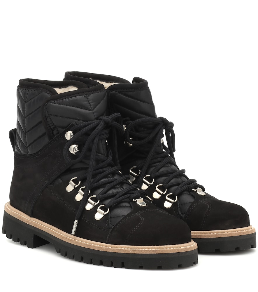 Edna Suede And Quilted-Canvas Ankle Boots in Black