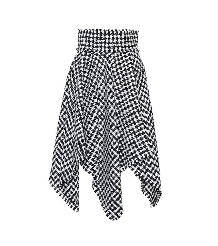 Houndstooth Handkerchief Hem Stretch Wool Skirt in Black